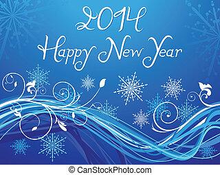 bleu, backgr, basé, résumé, année, nouveau