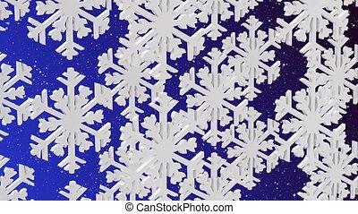 bleu, backgrou, blanc, flocons neige