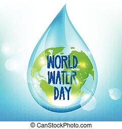 bleu, backrgound, eau, jour, mondiale