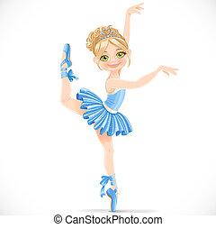 bleu, ballerine, jambe, danse, isolé, une, fond, girl, robe, blanc