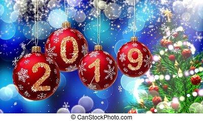 bleu, balles, rendering., arbre, tourner, bokeh, 2019, nombres, fond, pendre, noël, rouges, 3d