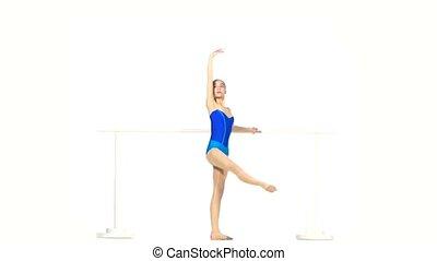 bleu, ballet, isolé, danseur, robe blanche