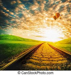 bleu, ballons, air, par, sous, vert, chemin fer, vallée,...