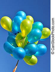 bleu, ballons, jaune, métallique