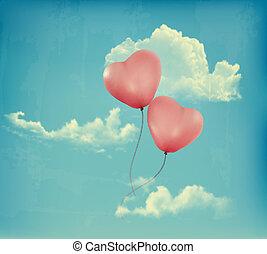 bleu, baloons, forme coeur, ciel, valentin, vecteur, retro,...