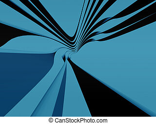 bleu, bandes, courbes
