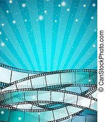 bleu, bandes, vertical, cinéma, sur, raies, illustration, particles., vecteur, fond, pellicule, scintillement