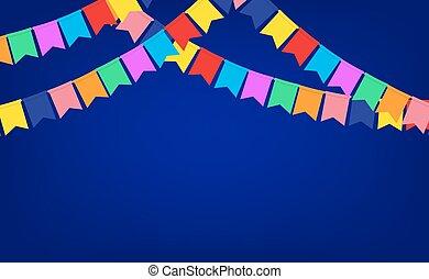 bleu, bannière, à, guirlande, de, couleur, fête, drapeaux