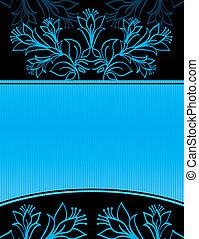 bleu, bannière, floral