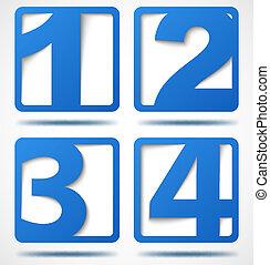 bleu, bannières, nombres, 3d