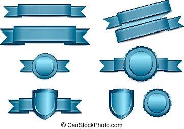 bleu, bannières, rosett, bouclier