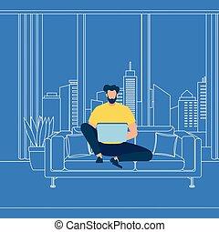 bleu, barbu, fonctionnement, ordinateur portable, fond, type