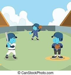 bleu, base-ball, conception, allumette, illustration
