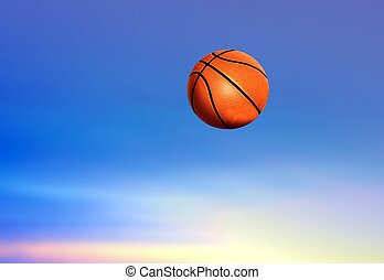 bleu, basket-ball, ciel, sous