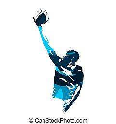 bleu, basket-ball, silhouette, coup, résumé, haut, joueur, ...