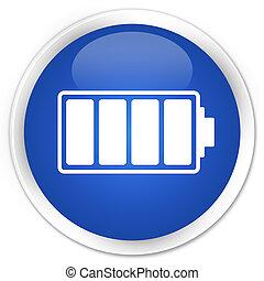bleu, batterie, bouton, lustré, rond, icône