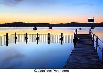 bleu, bayou, yattalunga, coucher soleil, piscine, réflexions