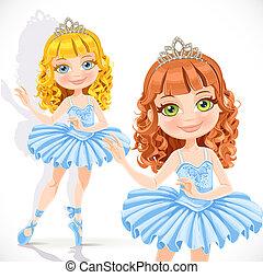bleu, beau, fond, isolé, ballerine, diadème, peu, robe, blanc, girl
