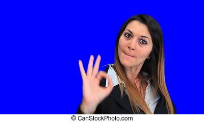 bleu, beau, grand, affaires femme, écran, signe, concept,...