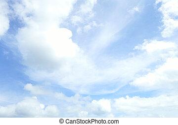 bleu, beau, nature, ciel, fond, cloud., blanc