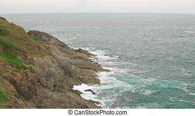 bleu, beau, nature, rochers, littoral, ocean., paysage