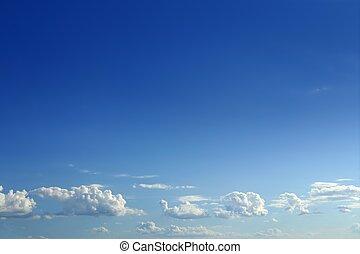 bleu, beau, nuages, ciel, ensoleillé, blanc, jour