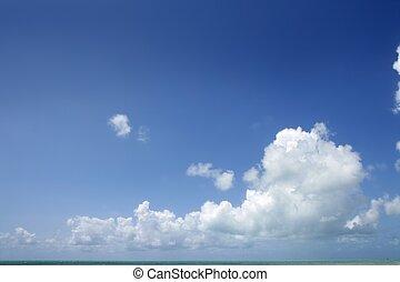 bleu, beau, nuages, nature, ensoleillé, ciel, jour, blanc, ...