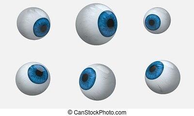 bleu, beaucoup, yeux, balles, rotation