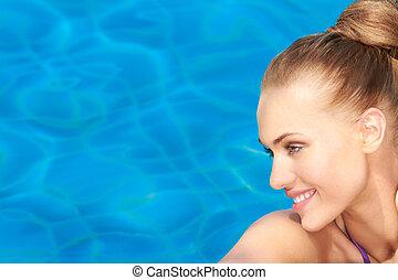 bleu, beauté, eau, fond, portrait, sourire