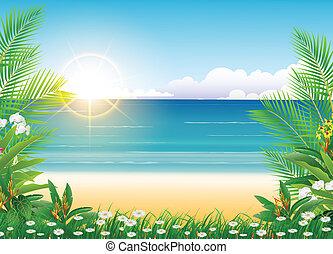 bleu, beauté, ensoleillé, ciel, arbre, paume