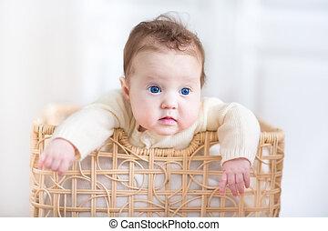 bleu, beaux yeux, lessive, dorlotez fille, adorable, jouer