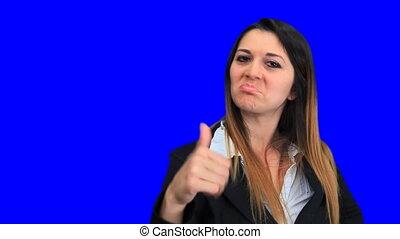 bleu, belle femme, business, écran, concept, haut, signe,...