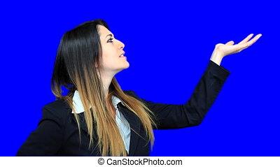 bleu, belle femme, business, écran, concept, regarder, 1,...