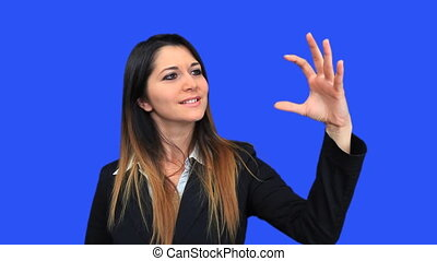 bleu, belle femme, business, écran, regarder, 3, concept,...