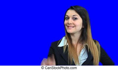 bleu, belle femme, business, écran, signe, concept,...