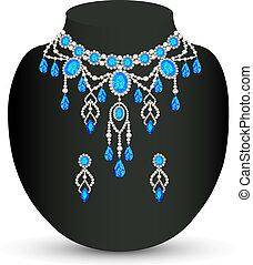 bleu, bijouterie, bijoux, femme, collier, boucles oreille