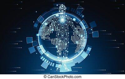 bleu, binaire, concept, humain, high-tech, résumé, moderne, illustration, sombre, avenir, conception, background.vector, monde numérique, technologie, futuriste