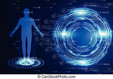 bleu, binaire, concept, humain, science, résumé, moderne, lumière, salut technologique, fond, numérique, cercle, technologie
