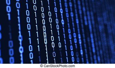 bleu, binaire, uhd, code, matrice, couleur, données, concept...