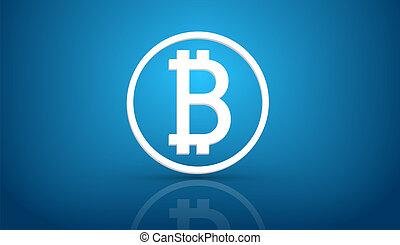 bleu, bitcoin, fond