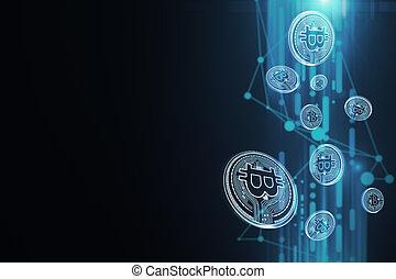 bleu, bitcoin, papier peint