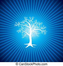 bleu, blanc, arbre, fond