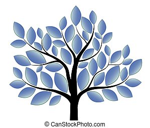bleu, blanc, arbre, isolé, fond