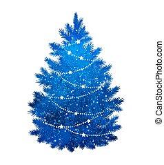 bleu, blanc, arbre, noël, fond