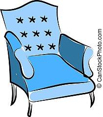 bleu, blanc, arrière-plan., vecteur, illustration, fauteuil