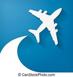 bleu, blanc, avion papier, fond