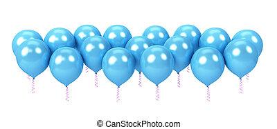 bleu, blanc, ballons, isolé, fond