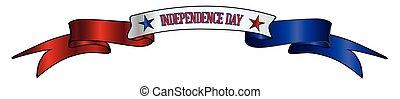 bleu, blanc, bannière, ruban, rouges, usa, jour, indépendance