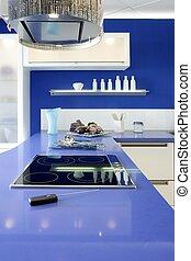bleu, blanc, cuisine, moderne, conception intérieur, maison