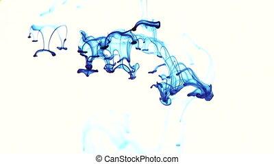 bleu, blanc, encre, fond, water.
